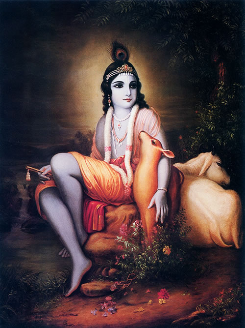 Krsna  with His beloved cows