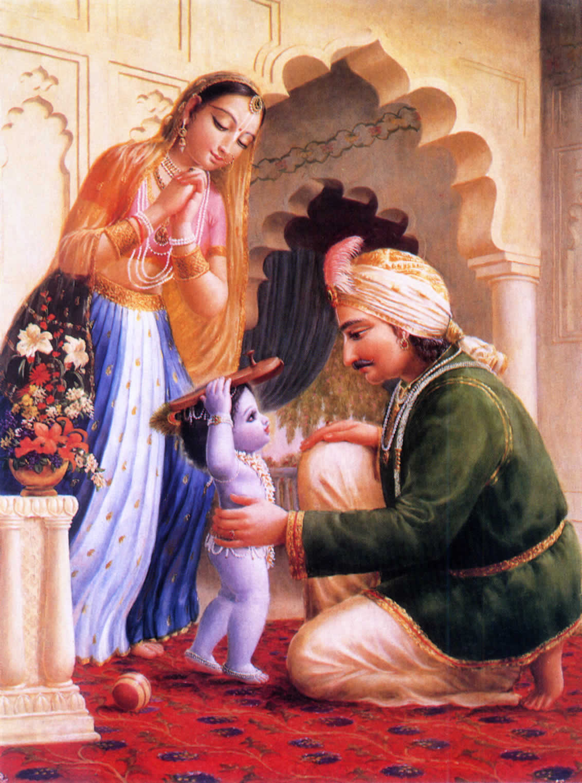 Baby Krsna holding shoes on His head.